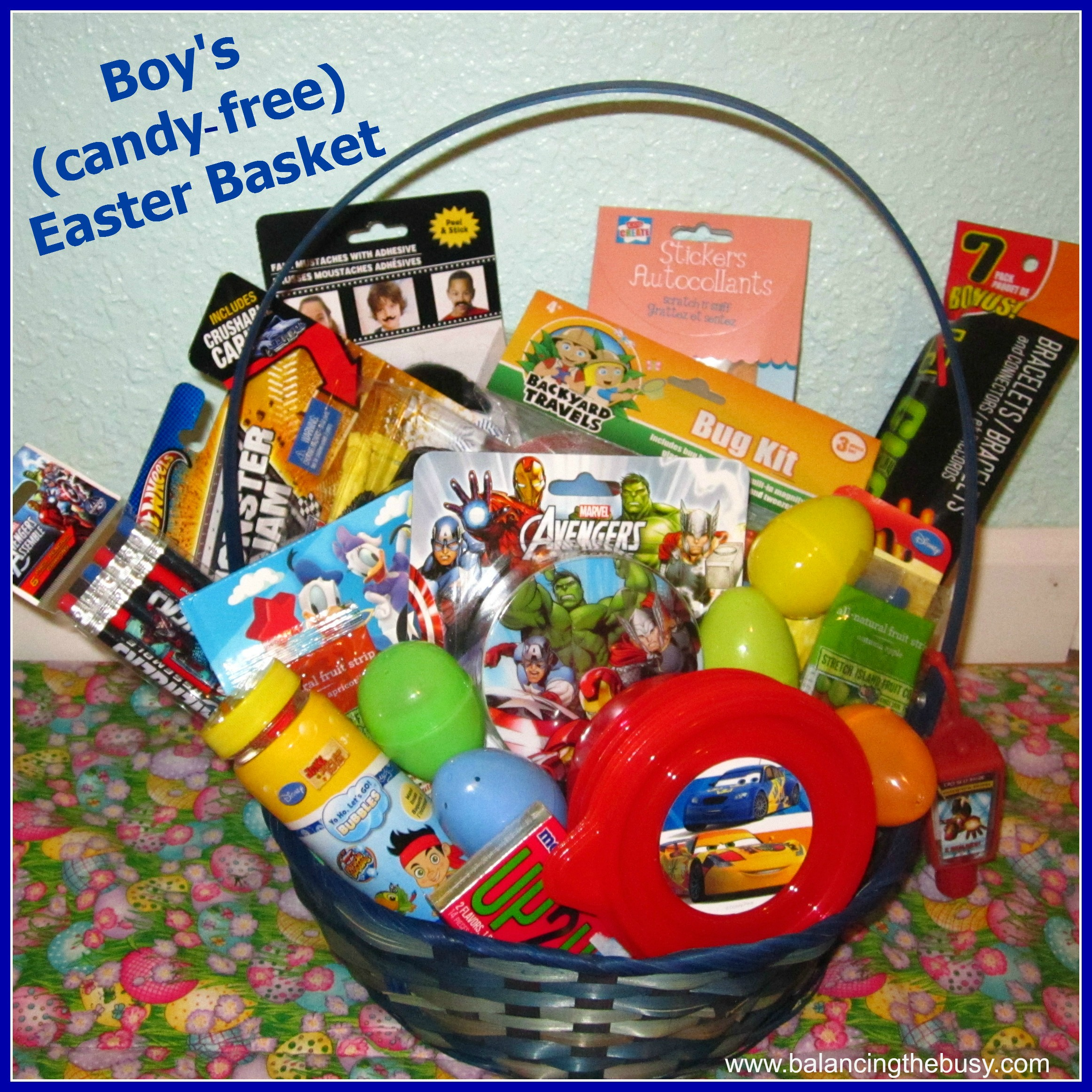 Candy free easter ideas balancing the busy outside play boy candy free easter basket negle